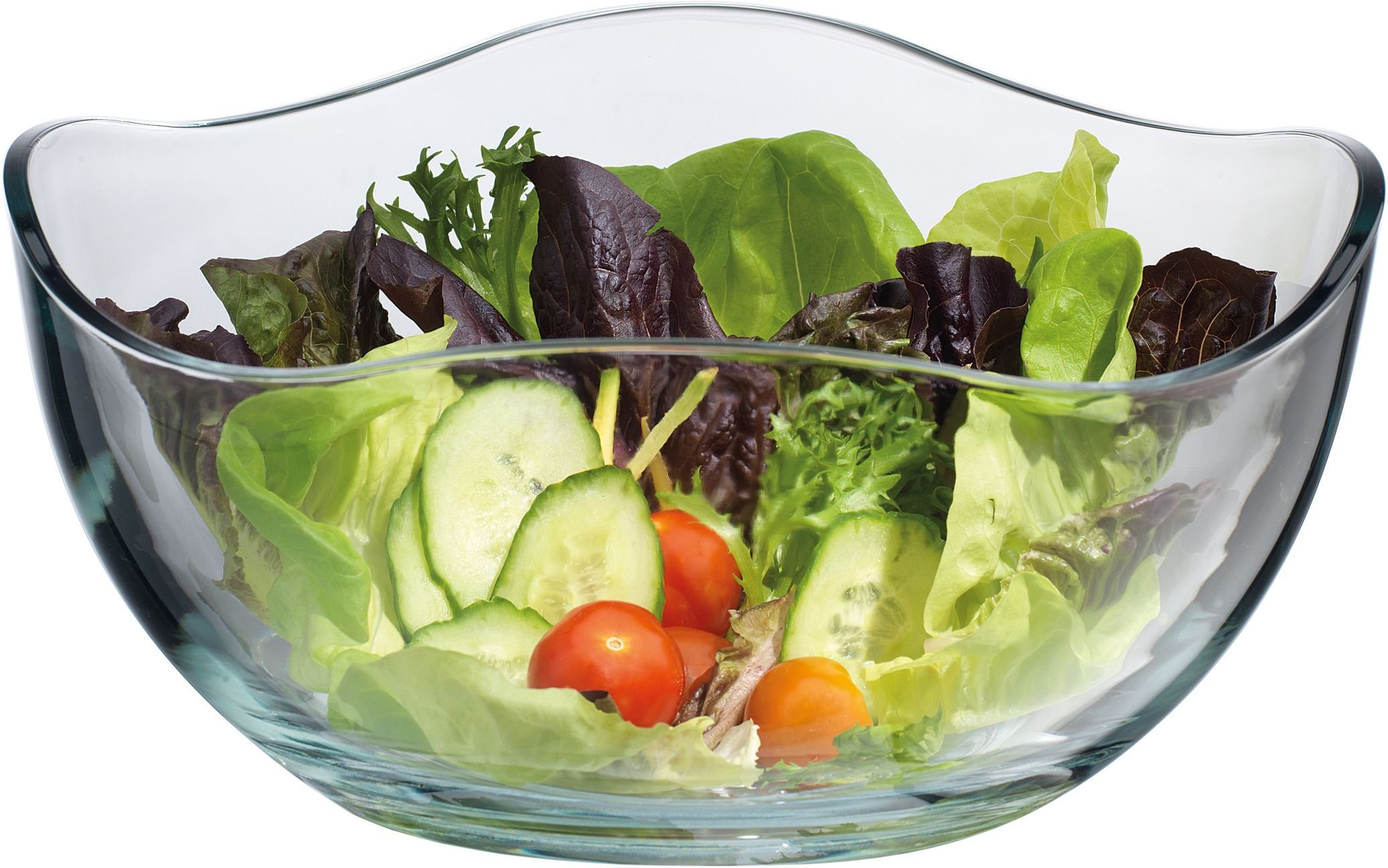 Classic Clear Glass Wave Serving ~ Mixing Bowl, For Desserts~Salads and Party.