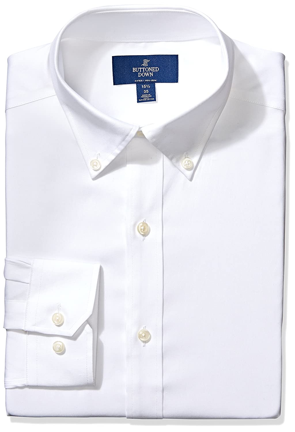 Buttoned Down Men's Fitted Button-Collar Non-Iron Dress Shirt MBD30007