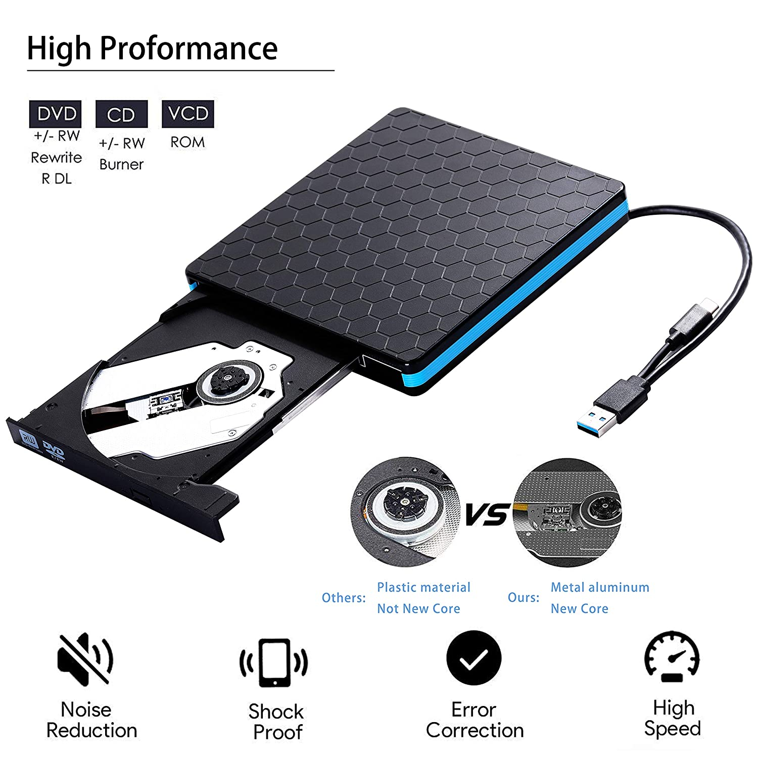 AOKUP Graveur DVD Externe USB 3.0 Lecteur CD Externe Portable USB C CD DVD +/-RW ROM Player Compatible con Windows 10/8/7/XP/ Vista, Laptop, Desktop, PC, ...