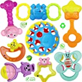 Techhark® Set of 8 PCs High Quality Rattles for Babies [ Non-Toxic & BPA Free ]