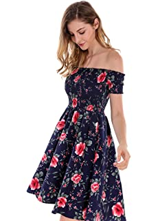 688005cfd529 Apperloth Women's Sexy Off Shoulder Dress Floral Print Short Sleeve A-Line  Fit and Flare