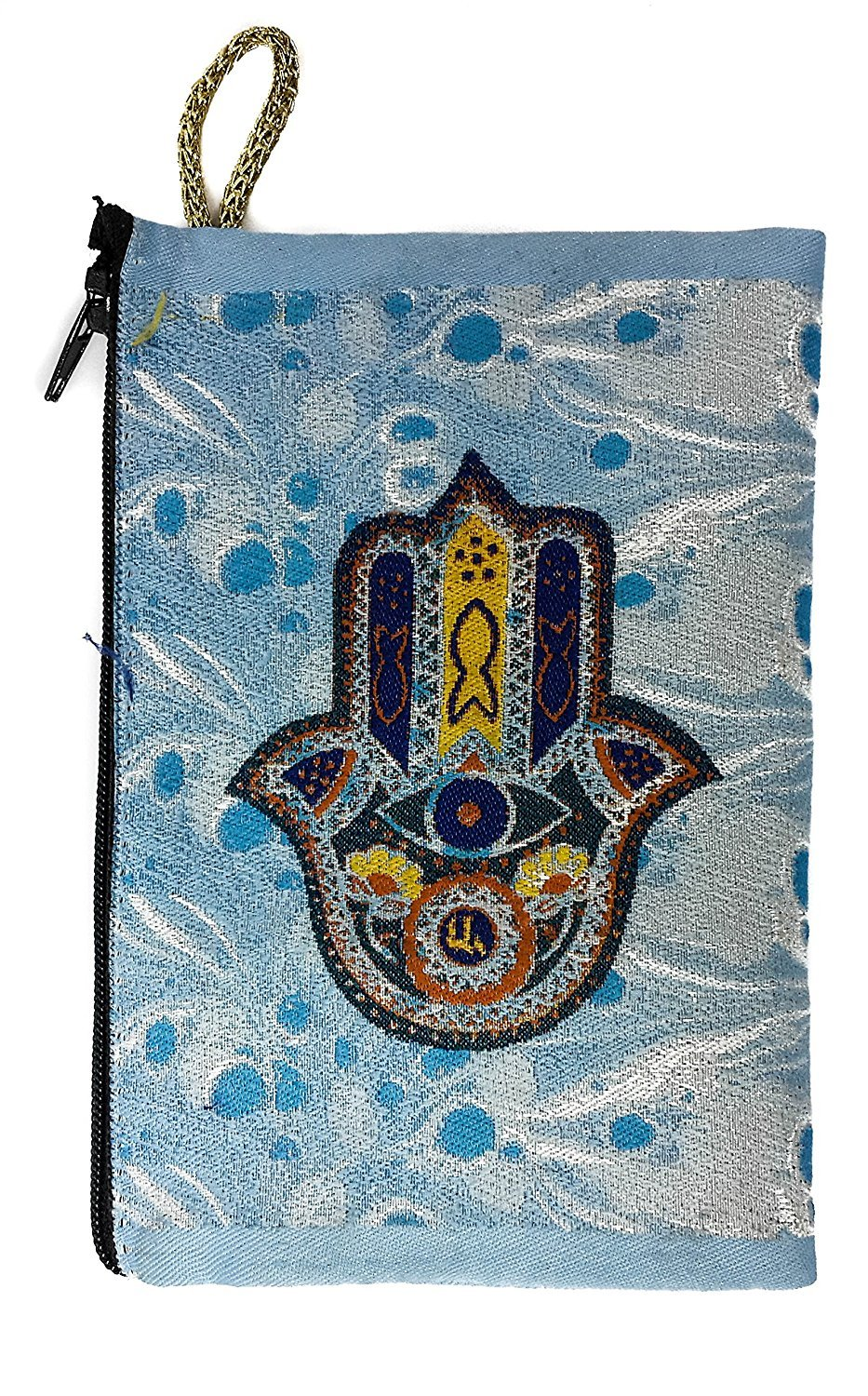 Icon Case Pouch Coin Purses Tapestry Prayer With Jewish Hamsa Evil Eye Protection 5.7'' by Holy Land Gifts