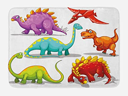 Delicieux Ambesonne Dinosaur Bath Mat, Colorful Funny Different Dino Themed Friendly  Wildlife Extinct Animals Ice Age