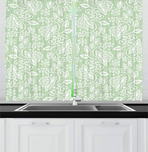 Ambesonne Mint Kitchen Curtains, Floral Pattern with Flourishing Blossom Bouquets and Flower Leaf Illustration, Window Drapes 2 Panel Set for Kitchen Cafe Decor, 55 X 39 , Almond Green White