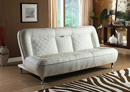 Classic Car Seat Inspired Futon Sofa Convertible (White)