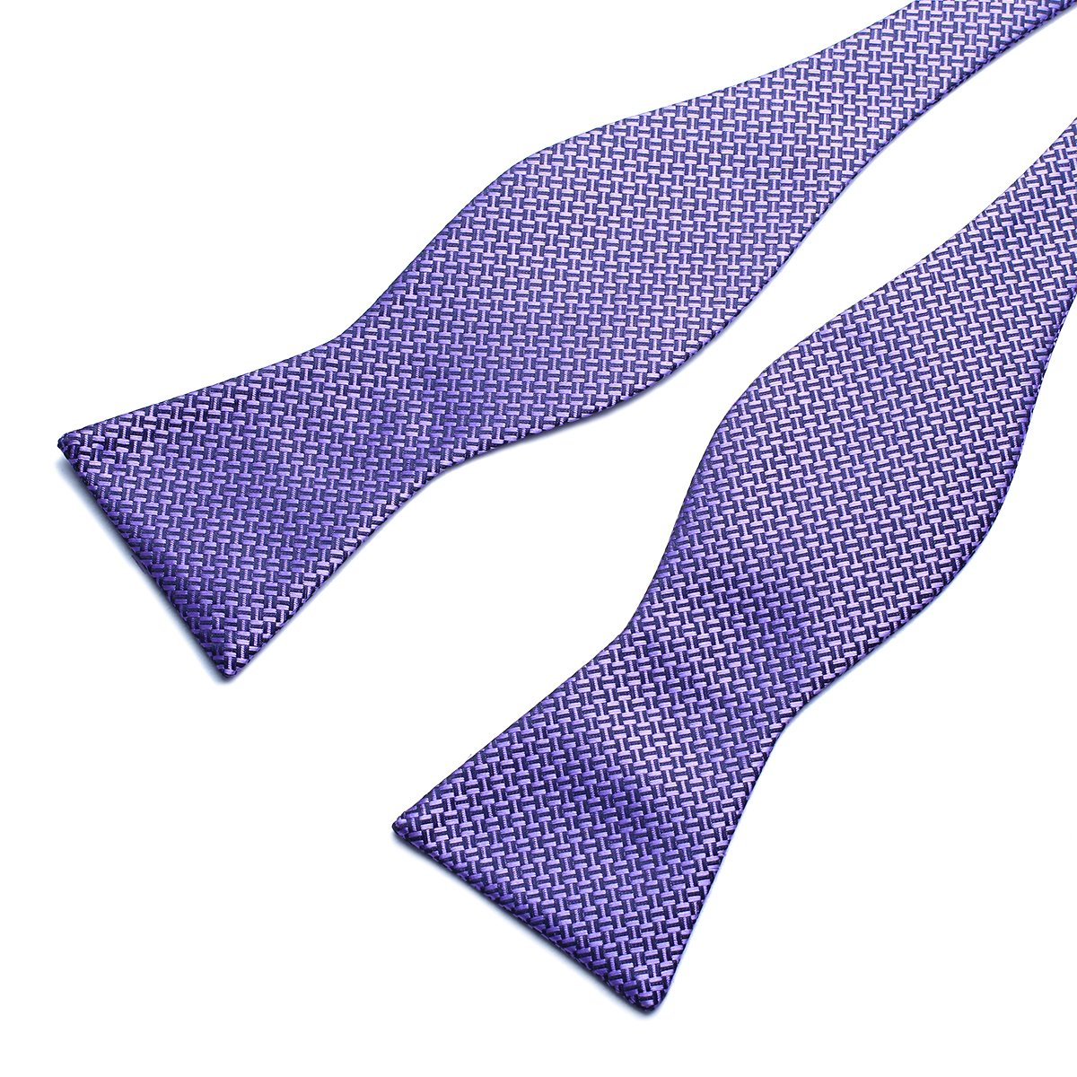 Anovaties Mens Plain Self Bow Tie Plaids Stripes Woven Silk Bow Ties-Various Colors
