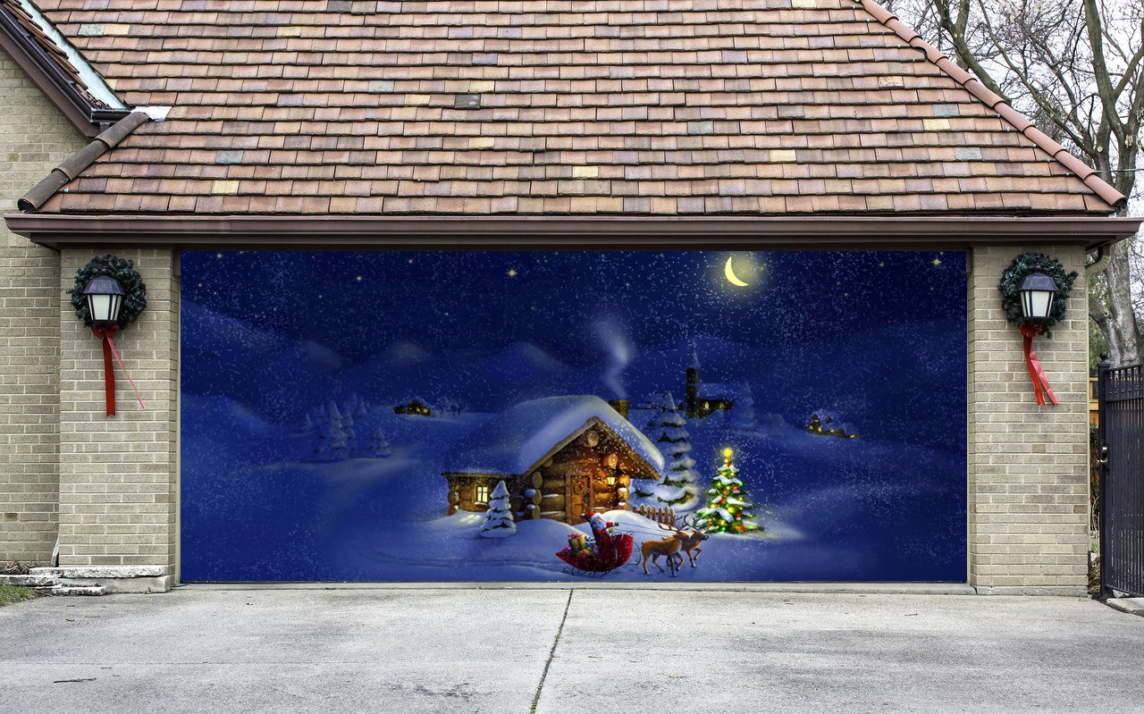 Christmas Garage Door Cover Banners 3d Santa In A Sleigh Christmas Tree Holiday Outside Decorations Outdoor Decor for Garage Door G54