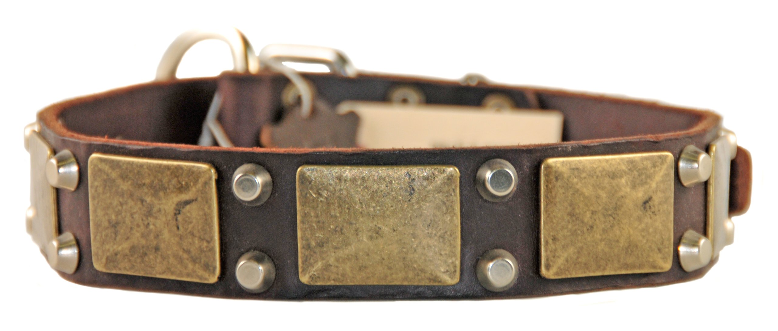 Dean and Tyler ''THE ANTIQUE'', Dog Collar with Antiqued Brass Plate and Nickel Stud - Brown - Size 30-Inch by 1-1/2-Inch - Fits Neck 28-Inch to 32-Inch
