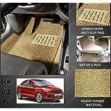 Volga Heavy Duty Anti Slip Noodle Nomad Style Car Floor Mats Set Of 5 Beige For Ford Figo Aspire