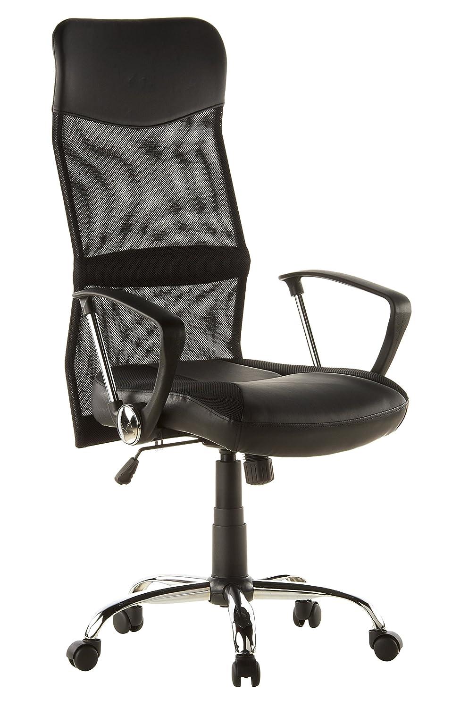 hjh OFFICE 668010 silla de oficina ARTON 20 tejido de malla / piel sintética negro, con apoyabrazos, base cromada, con apoyacabezas integrado, ...