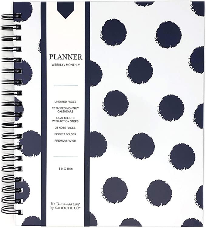 Hard Cover Monthly//Weekly Planner- Undated Teal Polka DOTS 25 Note Pages Stickers Size 8x10