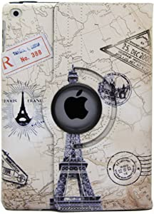 iPad 6th 5th Generation case, New iPad 9.7 case, Sights of Paris Eiffel Tower Vintage map Design Smart Case with auto Sleep / Wake for Apple New iPad 6 Model A1822 A1823 A1893 A1954 (Tower)