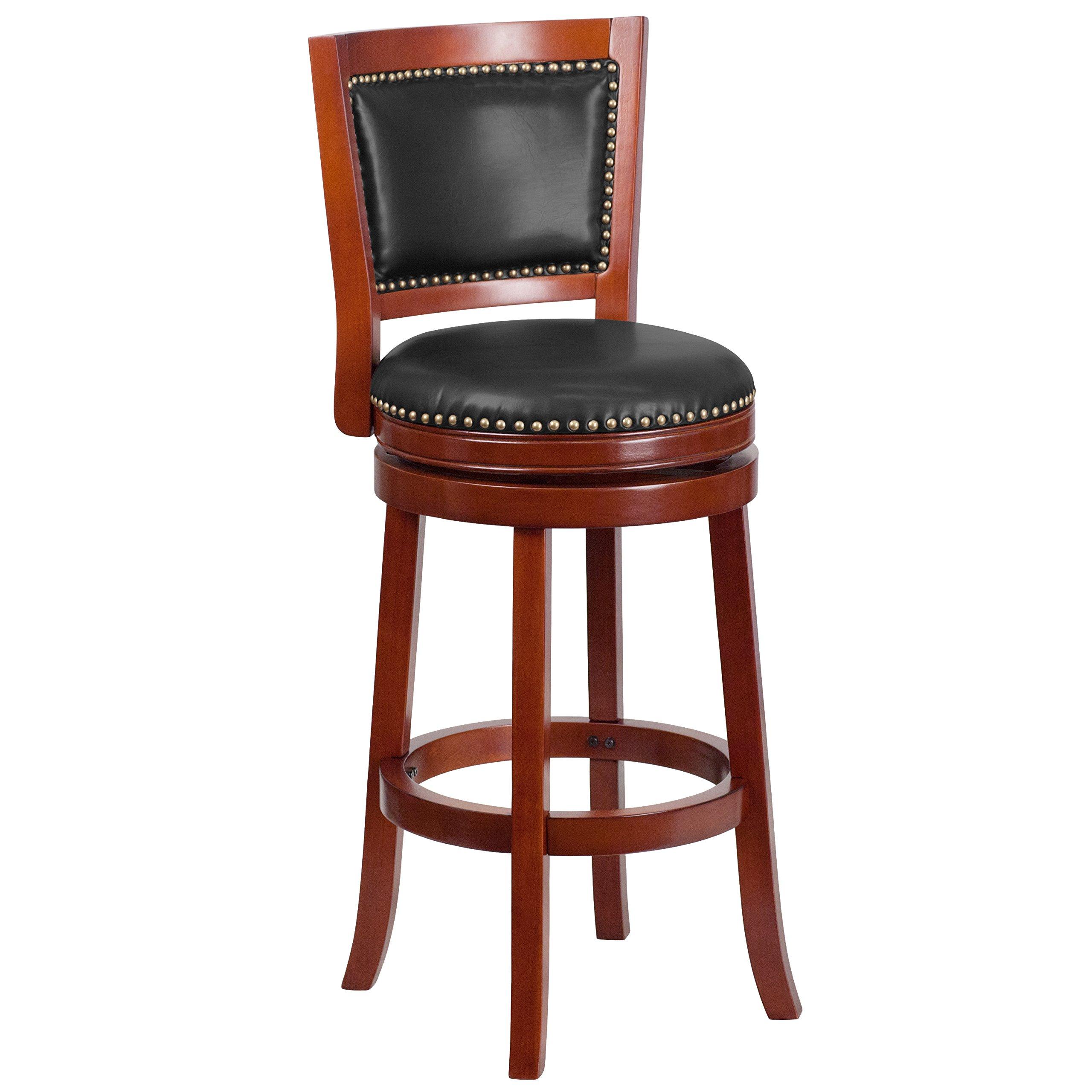 Flash Furniture 30'' High Dark Cherry Wood Barstool with Walnut Leather Swivel Seat