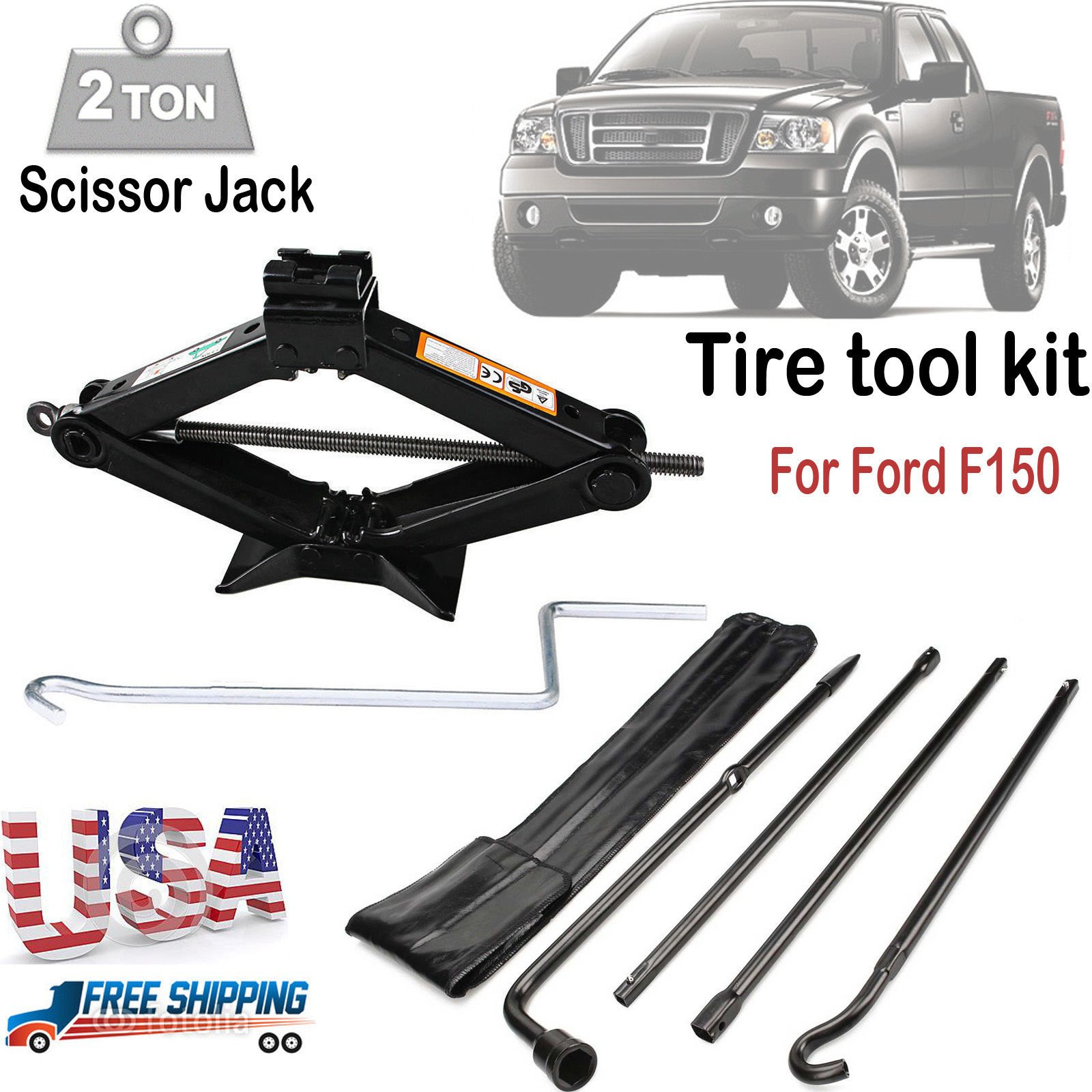 Spare Tire Tool Kit and 2 Ton Scissor Jack For Ford F150 2004 to 2014 OEM Exension Nut Lug Wheel Wrench Repair Replacement Iron Set