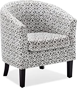 BELLEZE Upholstered Barrel Chair Tub Club Armrest Accent Fabric Living Room, Brown