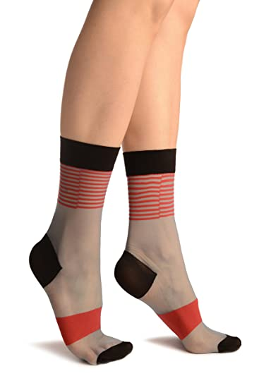 8327b5e63ac Blue With Red Stripes Ankle High Socks - Socks at Amazon Women s ...