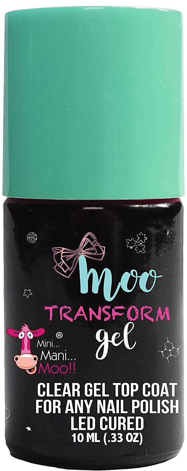 Moo Gel TRANSFORM . CLEAR GEL TOP COAT COMPATIBLE WITH ANY TYPE OF NAIL POLISH. LED CURED. NO WIPE. EASY REMOVAL. LONG LASTING HIGH SHINE TOP COAT MINI MANI MOO