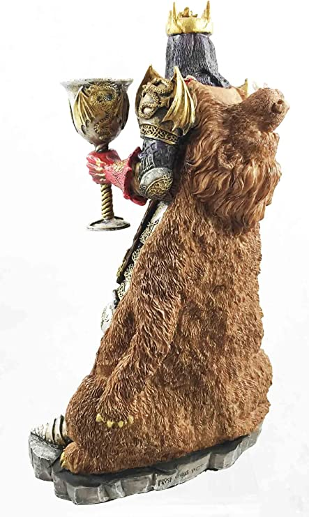 """King Arthur Pendragon with The Excalibur Sword and Chalice Figurine Knight 10/""""h"""