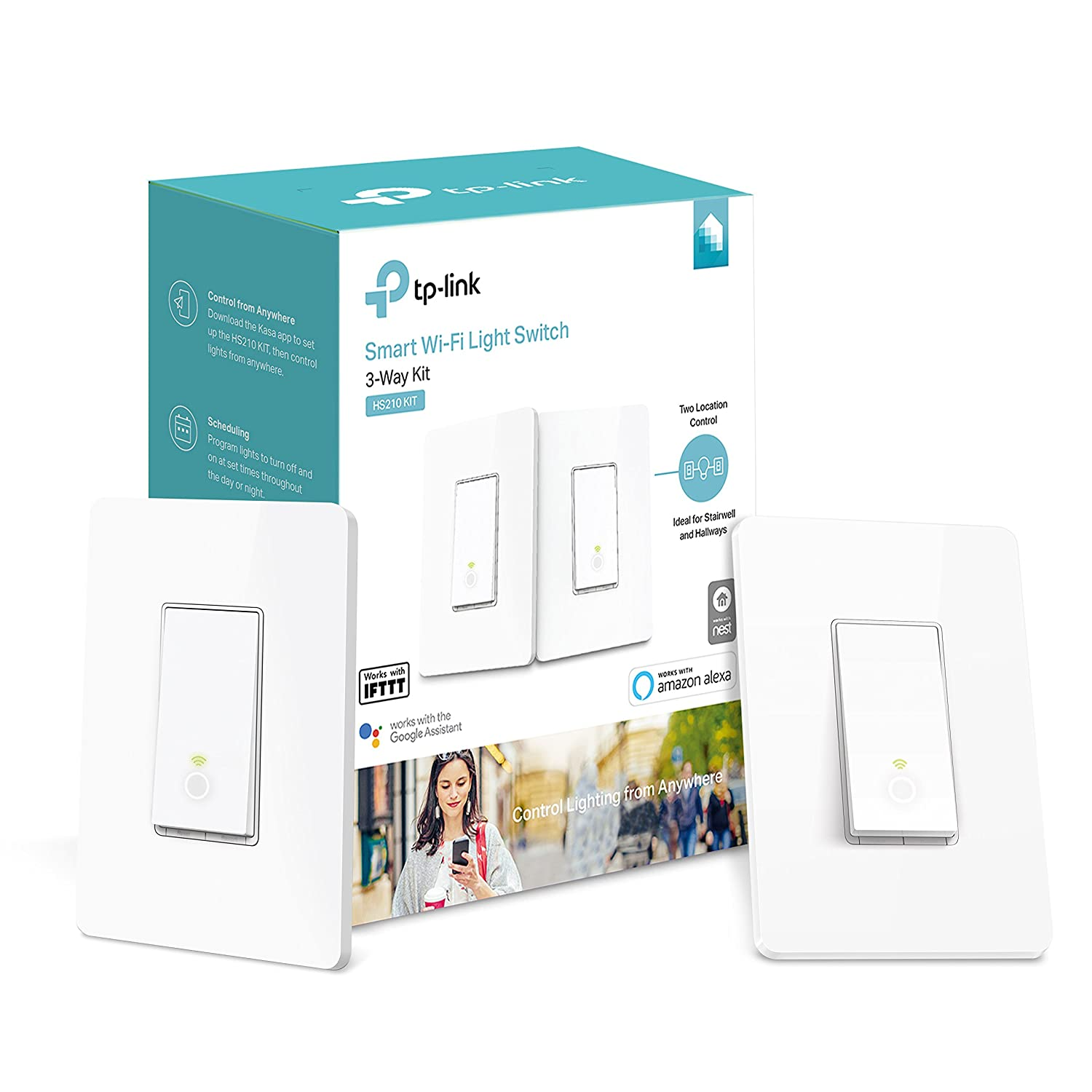 Tp Link Kasa Smart Wi Fi Light Switch 3 Way Hs210 Kit 1 Pack Bulb Circuit Diagram In Addition Replacing Old Double White