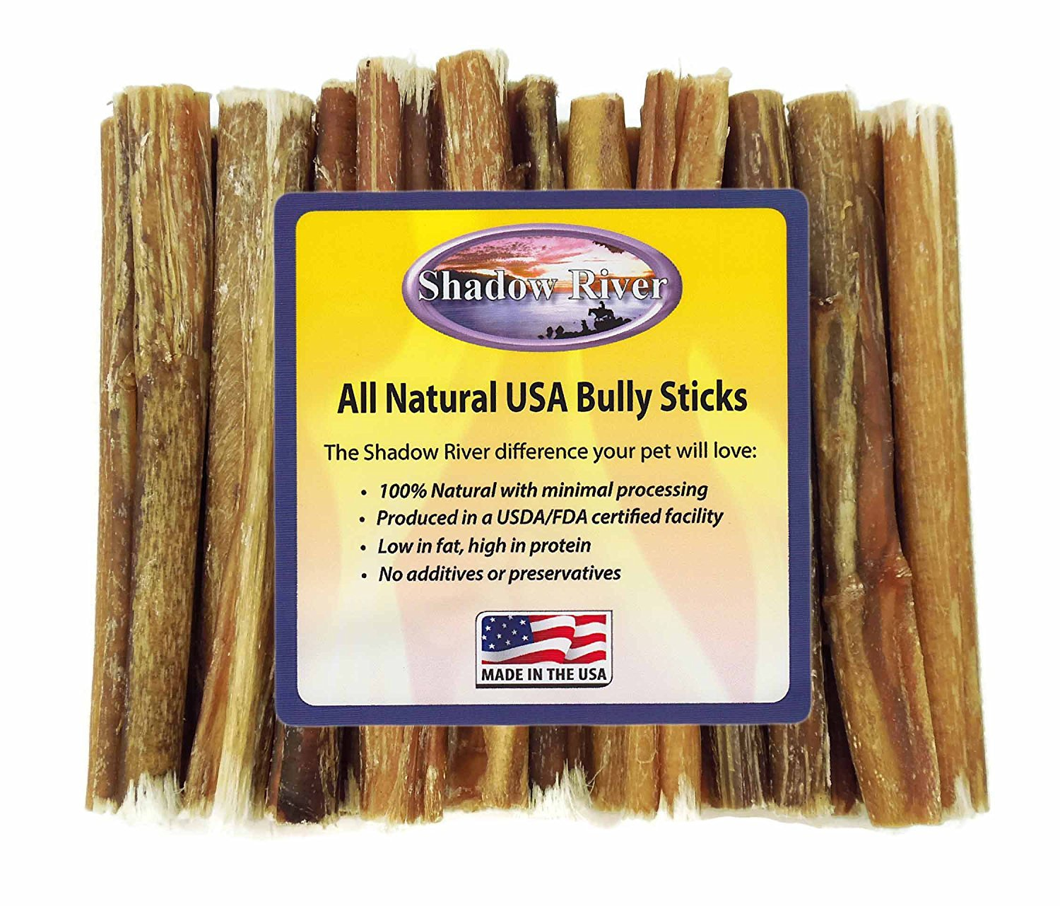 6 Inch Regular 25 Pack Free Range Bully Sticks Product of the USA