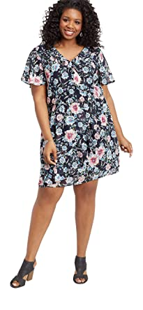 maurices Women\'s Plus Size Floral Ruffled Wrap Front Dress ...