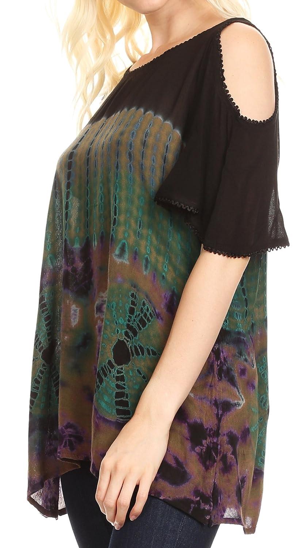 Sakkas Luz para Mujer Hombro frío Bohemio Estilo étnico Blusa Top Tie Dye Flare: Amazon.es: Ropa y accesorios