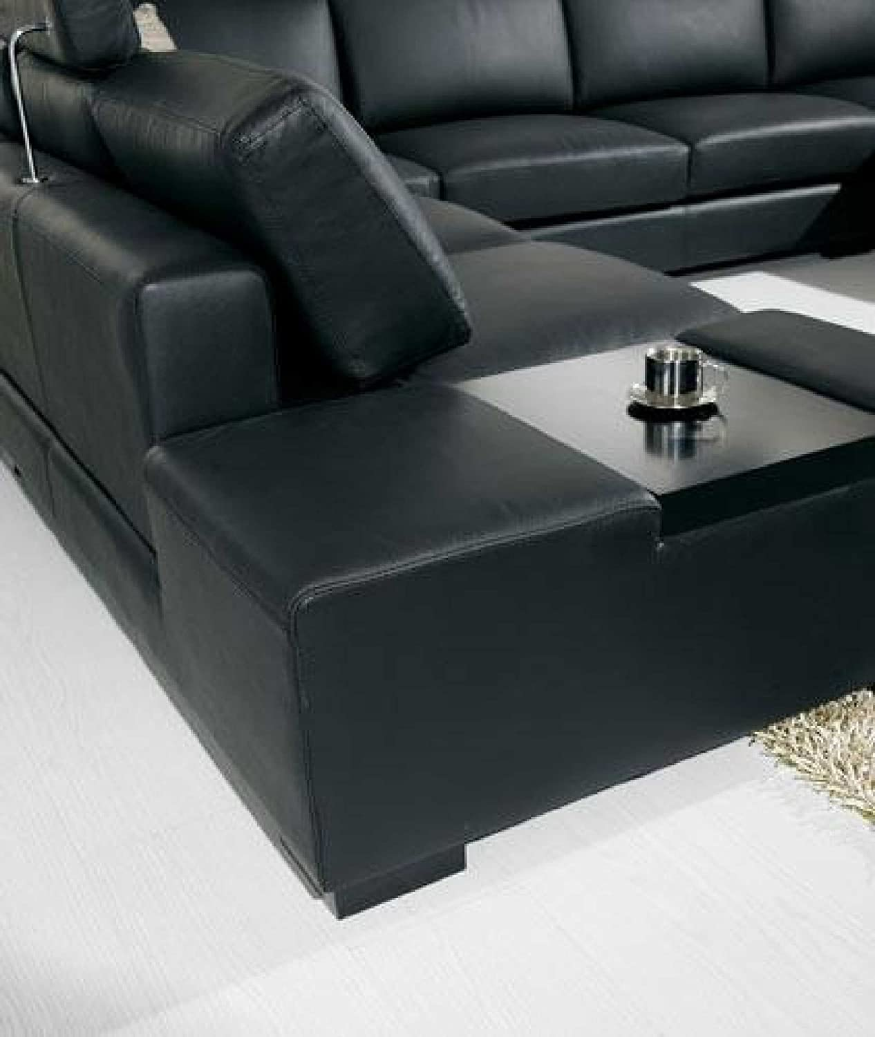 Amazon.com: T35   Black Bonded Leather Sectional Sofa With Headrests:  Kitchen U0026 Dining