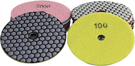 4 Inch QuickT PPD701A Dry Diamond Polishing Pads for Concrete Stone Granite Marble Stone Glass Dry Polishing 7 Pads Set