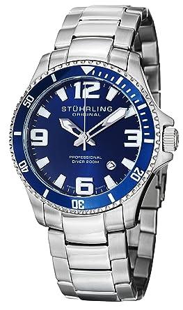 amazon com stuhrling original men s 395 33u16 aquadiver regatta stuhrling original men s 395 33u16 aquadiver regatta analog swiss quartz stainless steel link bracelet watch