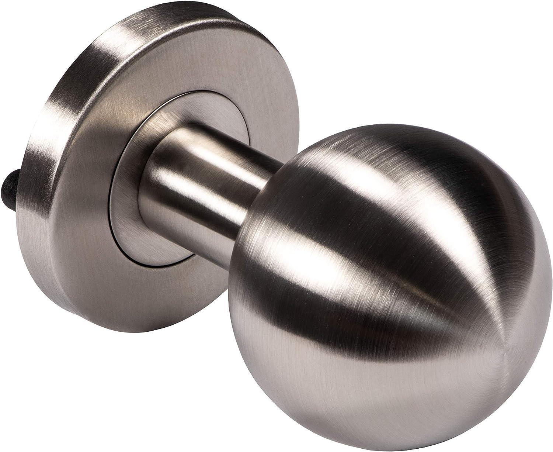 Pomo para puerta moderno, herraje para puerta de acero inoxidable, pomo esférico, roseta redonda, modelo LDK 214, pomo de 50 mm de diámetro, para interior y exterior, herrajes de construcción de Juva®
