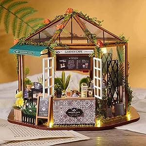Dreams Come True Miniature Cafe Shop Dollhouse DIY Kit. Garden Sunroom Design