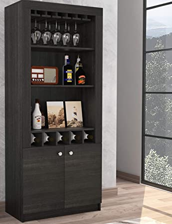 TUHOME Montenegro Collection Bar Cabinet Home Bar Comes with a 5 Bottle Wine Rack, Storage Cabinets, 3 Shelves and a 15 Wine Glass Rack with a Modern Dark Weathered Oak Finish