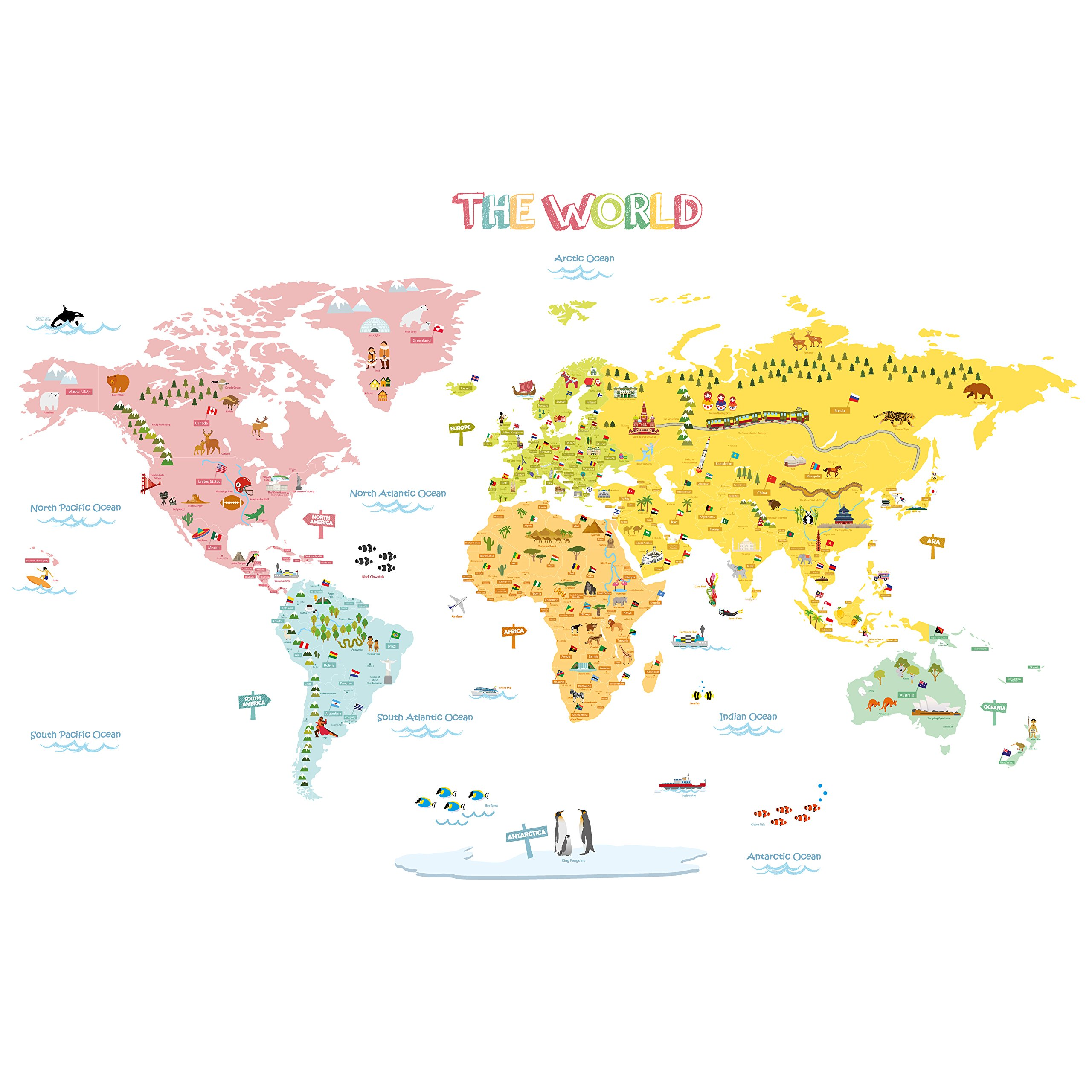 Decowall DLT-1616N Colourful World Map Kids Wall Decals Wall Stickers Peel and Stick Removable Wall Stickers for Kids Nursery Bedroom Living Room (XLarge) by Decowall
