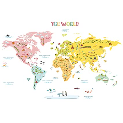 World Map Removable Wall Sticker.Amazon Com Decowall Dlt 1616n Colourful World Map Kids Wall Decals