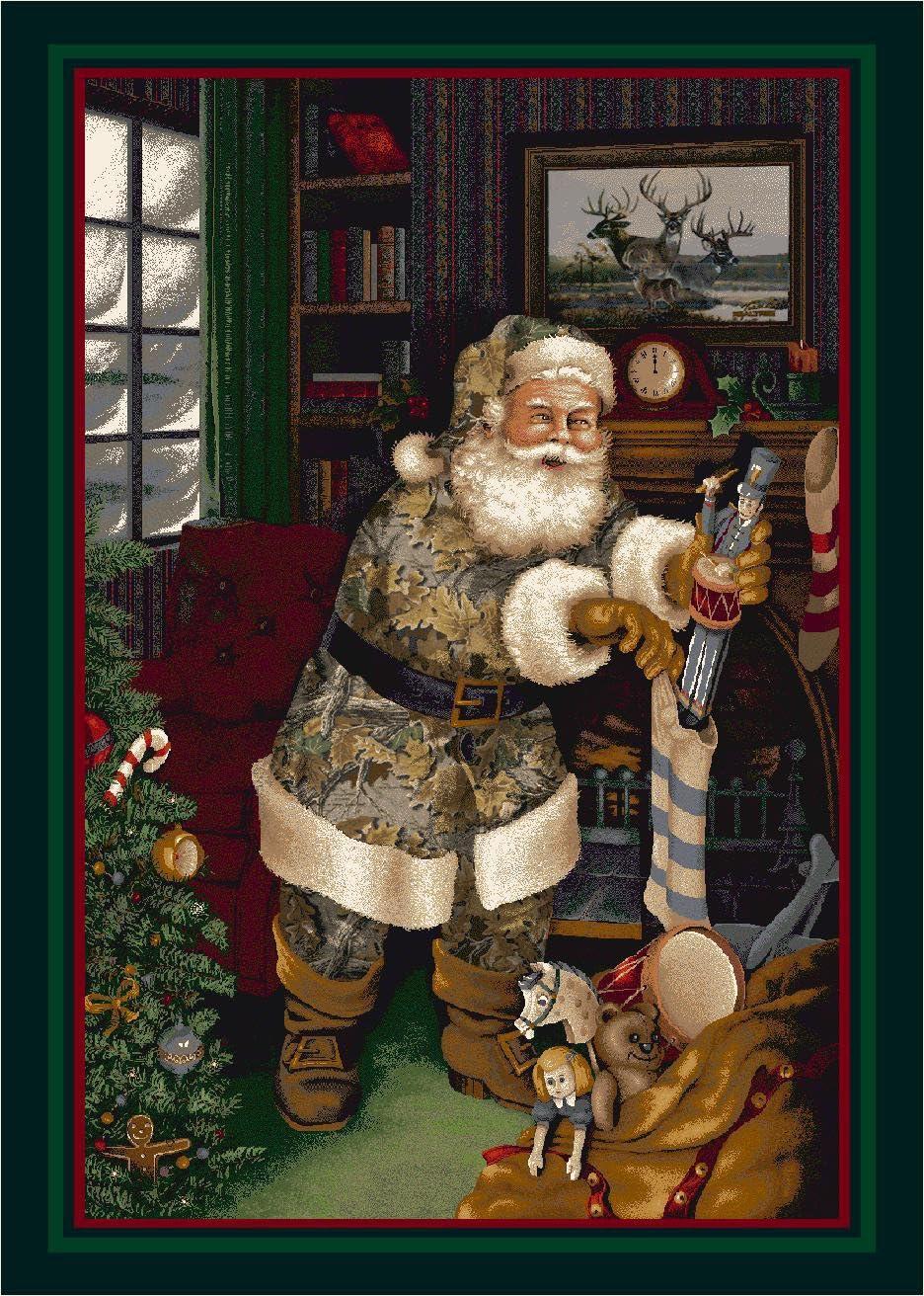 Realtree Camo Santa Christmas Novelty Rug Rug Size 3 10 x 5 4