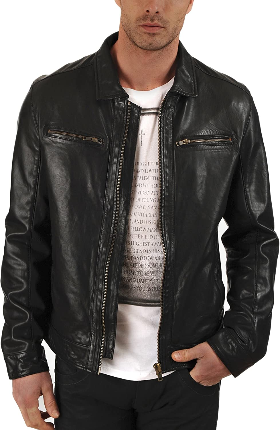 Kingdom Leather New Men Motorcycle Black Cowhide Cow Leather Jacket Coat Size XS S M L XL XC015