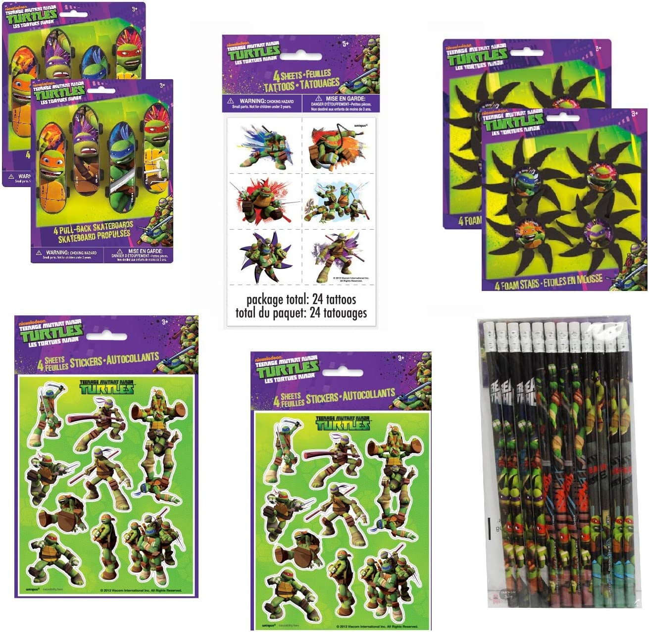Teenage Mutant Ninja Turtles Birthday Party Favor Bundle Set includes Skateboard, Foam Stars, Pencils, Tattoos, Stickers