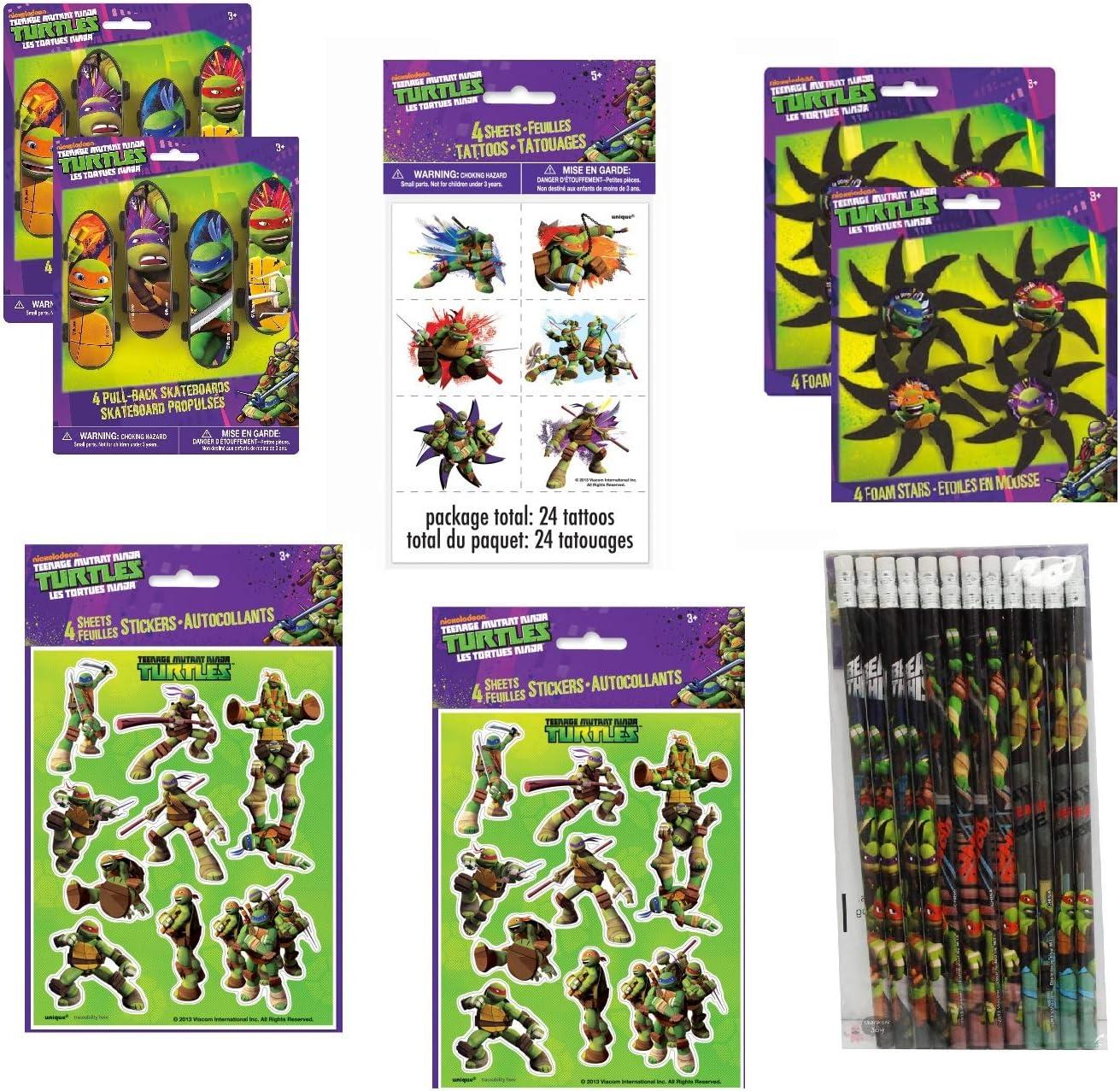 Teenage Mutant Ninja Turtles Birthday Party Favor Bundle Set includes Skateboard, Foam Stars, Pencils, Tattoos, Stickers