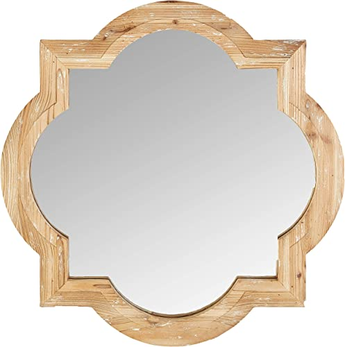 Ravenna Home Vintage Wooden Accent Mirror, 27.75 H, Natural
