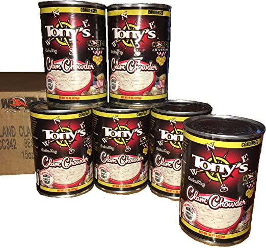 Tony's Clam Chowder, 3X World Champion, 15oz ounce (Pack of 6)