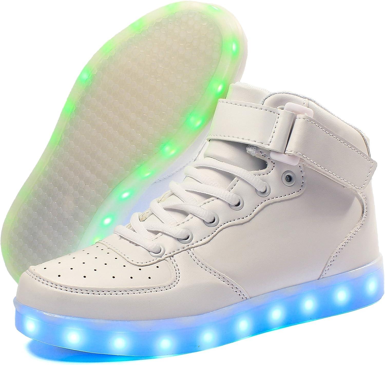 Voovix Baskets Montants Enfant LED Lumi/ères Multicolores avec T/él/écommande-Chaussures USB Rechargeable pour Gar/çons et Filles