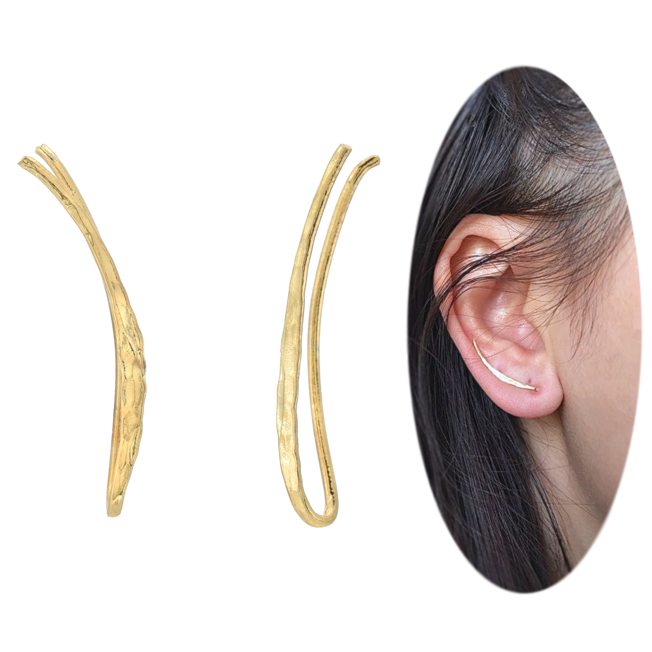 Ear Climber Crawler Cuff Earrings - 925 Sterling Silver with Yellow Gold Plating