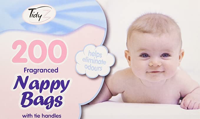 Fragranced Disposable Baby Nappy Bags With Tie Handles Pack of 200