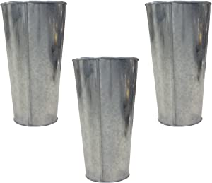 Hosley Set of 3 Galvanized Vases French Buckets 9 Inch High. Ideal for DIY Craft and Floral Projects Party Favors Festivities Wedding O3