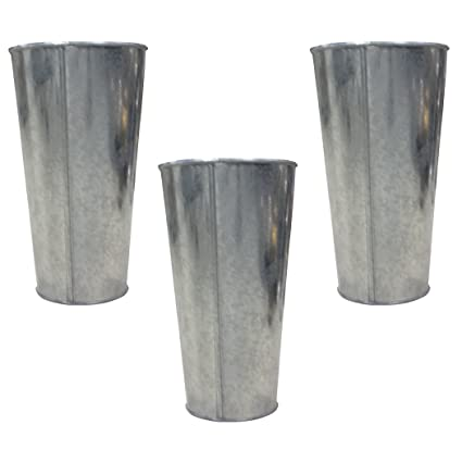 Amazon Hosley Set Of 3 Galvanized Vasesfrench Buckets 9