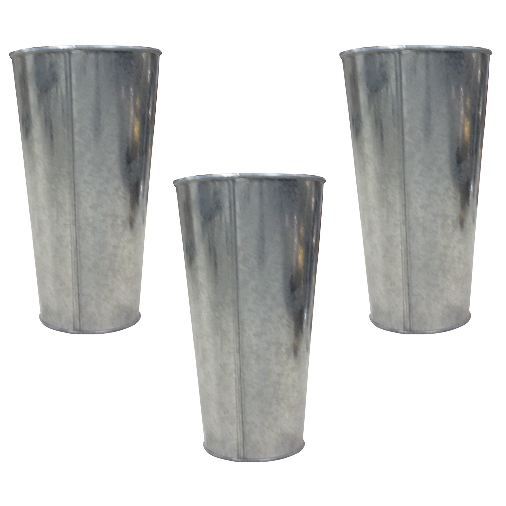 Hosley's Set of 3 Galvanized Vases / French Buckets - 9'' High. Ideal for DIY Craft and Floral Projects, Party Favors, Festivities, Wedding O3 by Hosley