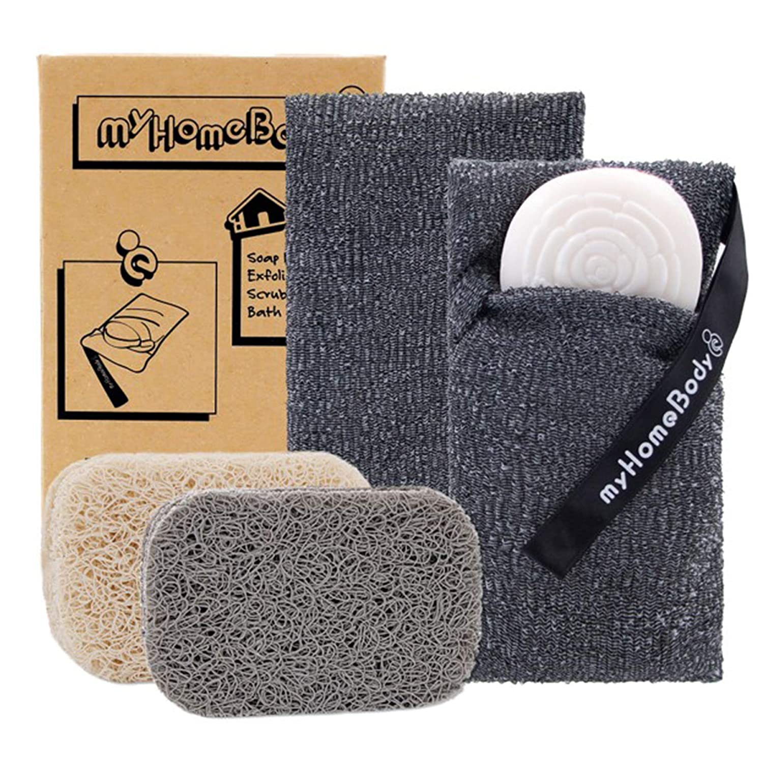 Soap Saver Pouch | Exfoliating Sponge Soap Pocket Body Exfoliator Sponges for Bath or Shower | Body Scrubber for Large Bar Soap or Leftover Soap Bits | 2 Pack + 2 Piece Soap Lift Soap Saver Pads: Beauty