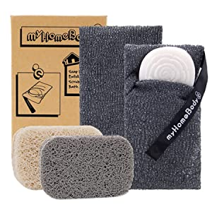 Soap Saver Pouch | Exfoliating Sponge Soap Pocket Body Exfoliator Sponges for Bath or Shower | Body Scrubber for Large Bar Soap or Leftover Soap Bits | 2 Pack + 2 Piece Soap Lift Soap Saver Pads