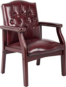 Boss Office Products Ivy League Executive Guest Chair in Burgundy