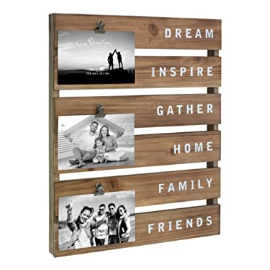 Stonebriar Inspirational Wood Collage Picture Frame with Rustic Metal Clips